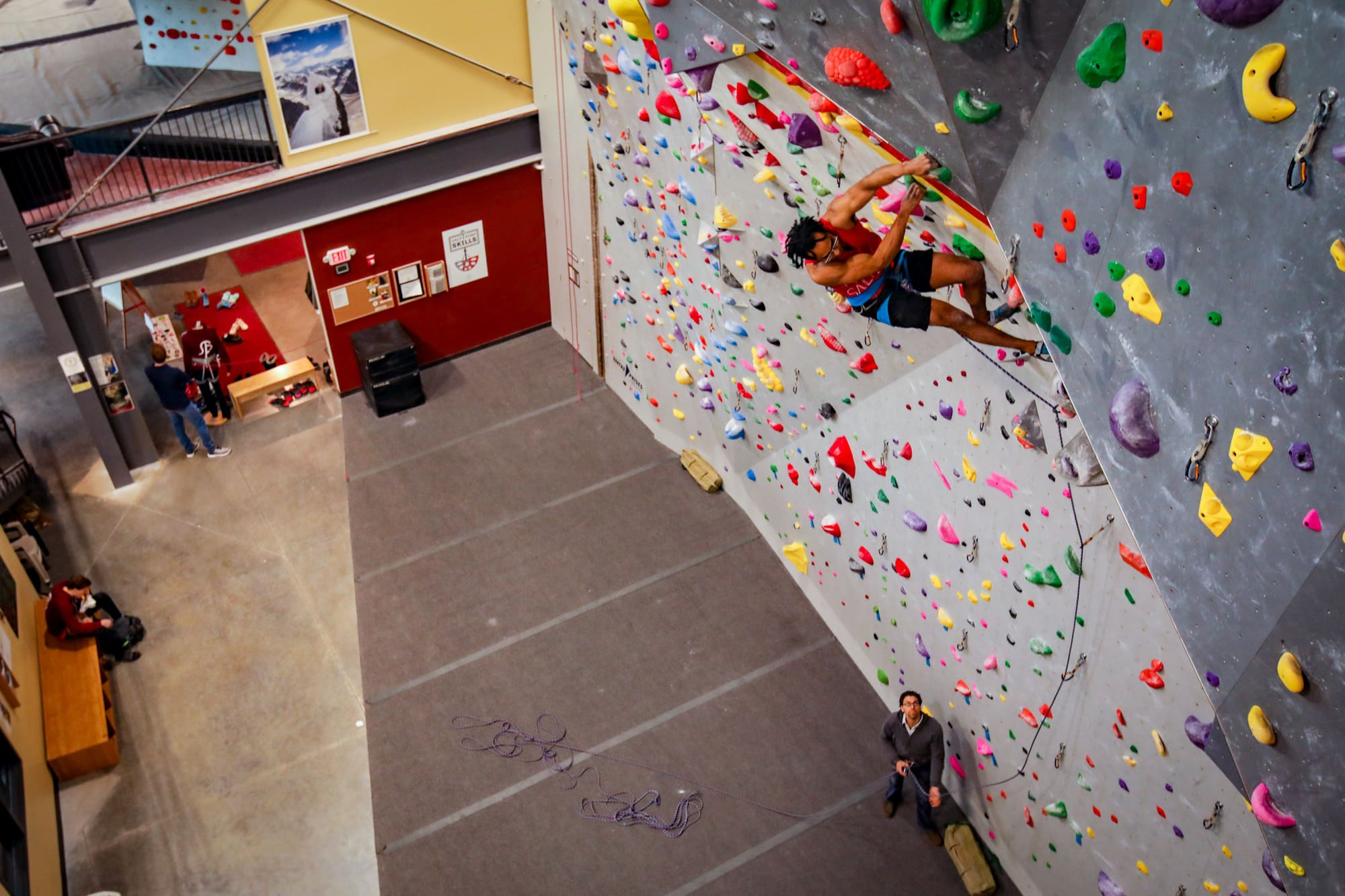 Route-setter and coach Ara Morton sending a few laps on the lead wall back in the before-the-virus days.