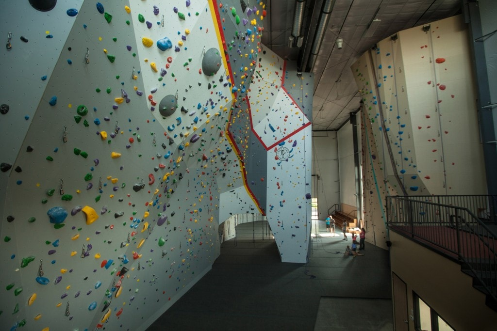 The lead wall at Salt Pump is the tallest indoor climbing wall in the state of Maine.